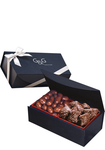 Chocolate Covered Almonds & Chocolate Sea Salt Caramels in Navy Blue Magnetic Closure Gift Box | MRNMB142