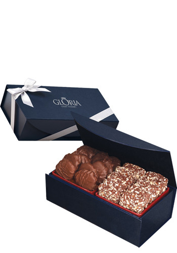 English Butter Toffee & Pecan Turtles in Navy Blue Magnetic Closure Gift Box | MRNMB160