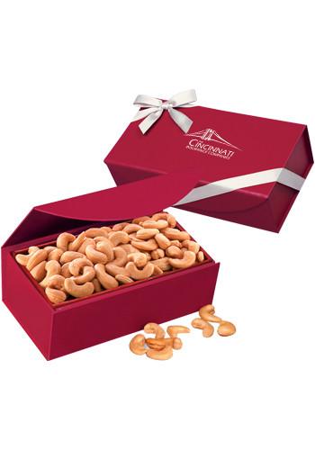 Extra Fancy Jumbo Cashews in Scarlet Magnetic Closure Gift Box | MRRMB102