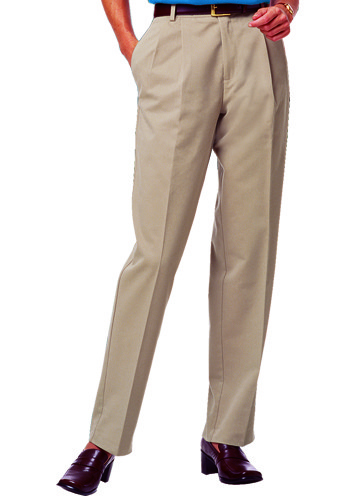 The pleated trouser looks great with a nice blouse and heels or flats. It's a polished look, and it's classic style for women's dress pants that is always appropriate (even when it's not
