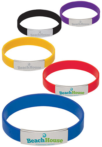 Whole Metal Accent Silicone Bracelets