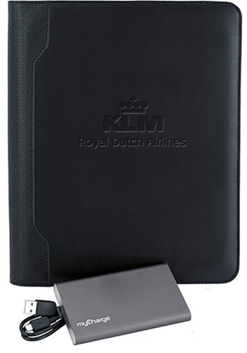 Textured E-Junior Padfolio with MYCHARGE Razor Max | X30006