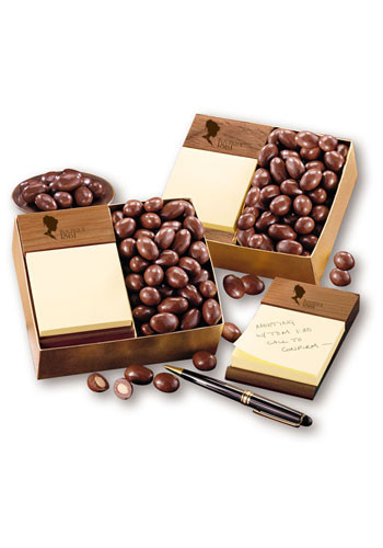 Walnut Post-it Note Holders with Milk Chocolate Covered Almonds | MRWNH124