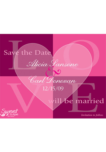 Pink Quadrant Save the Date Magnets | MGS217II