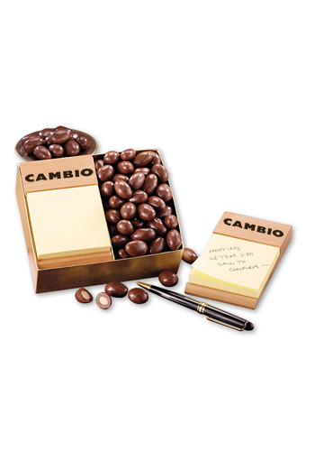 Beech Post-it Note Holders with Milk Chocolate Covered Almonds | MRBNH124