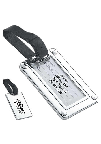Silver Luggage Tags with Black Strap | NOI60831