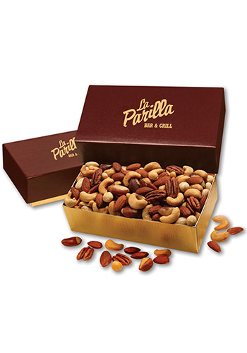 Bulk 12 oz. Deluxe Mixed Nuts in Burgundy & Gold Gift Box