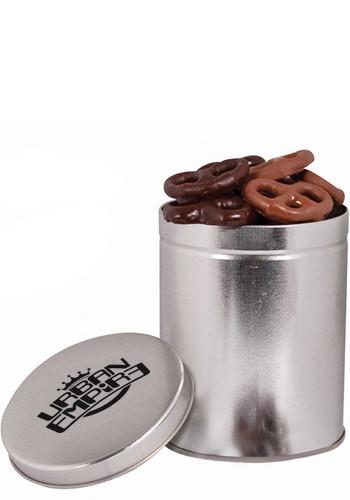 Promotional 1qt. Tin with Mini Chocolate Pretzels