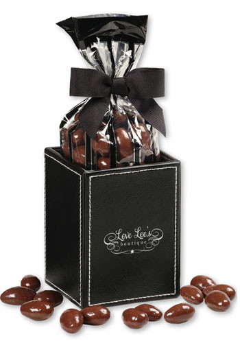 5 oz. Chocolate Covered Almonds in Faux Leather Pen & Pencil Cup | MRLPC124