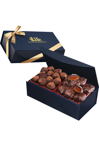 Chocolate Sea Salt Caramels & Cocoa Dusted Truffles in Navy Blue Magnetic Closure Gift Box | MRNMB138