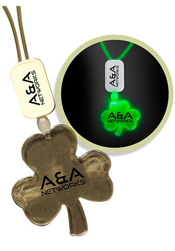 Custom LED Shamrock Green Necklaces with Extra Large Pendant