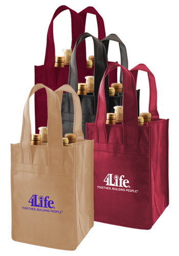 Polypropylene 4 Bottle Wine Totes | PS2WIN0711