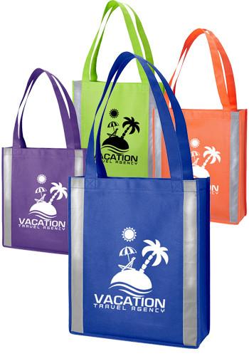 Custom Non Woven Reflective Tote Bags Em8390 Discountmugs