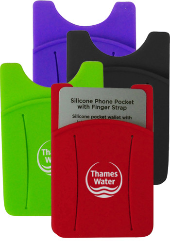 Promotional Silicone Phone Pocket with Finger Strap