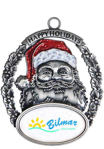 Customized Silver Santa Holiday Ornaments