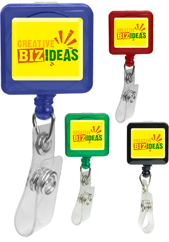 Wholesale Square Domed Retractable Badge Holders with Alligator Clip