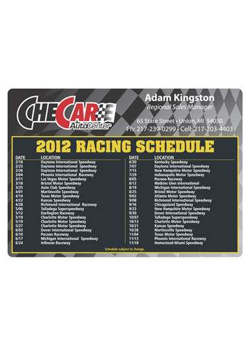 Racing Schedule 4.13in x 5.75 in Magnets