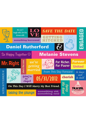 Retro Color Block Save the Date Magnets | MGS2170CC