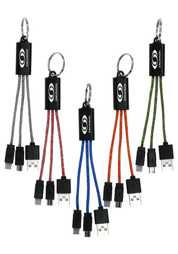 Ridge 2-In-1 Charging Cable Keychains | ASCPP4301