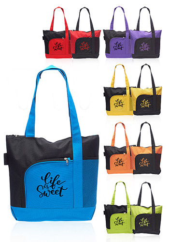 Custom Rosella Tote Bags with Mesh Pocket