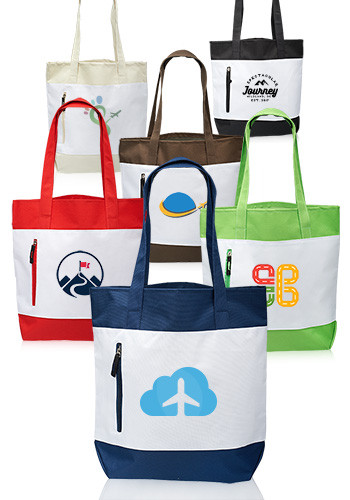 Tote Bags with Front Zipper