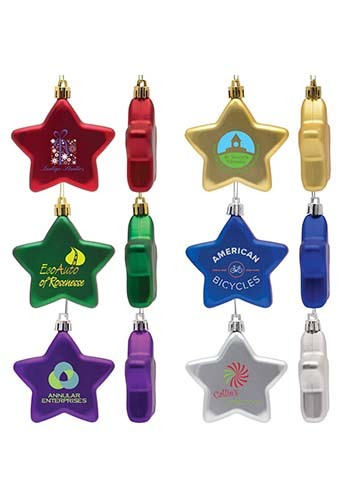 Customized Shatter Resistant Flat Star Ornaments