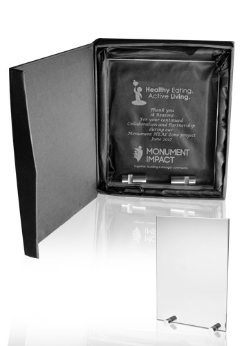 Promotional Small Chroma Glass Awards with Double Stand