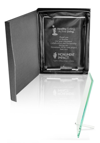 Promotional Small Jade Glass Plaque Awards with Stand
