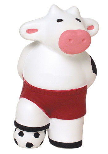 Promotional Soccer Cow Stress Balls