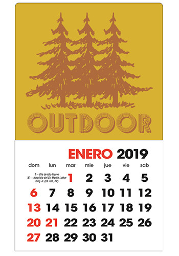 Spanish 2-Color Stick Up Grid (13-Month) Calendars | X11647