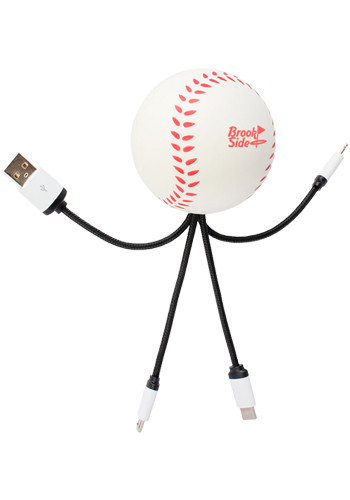 SqueezieCords Stress Ball Charging Cables-Baseball| EV26K15WT