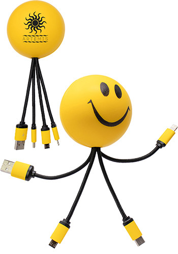 Promotional SqueezieCords Stress Ball Charging Cables - Smiley