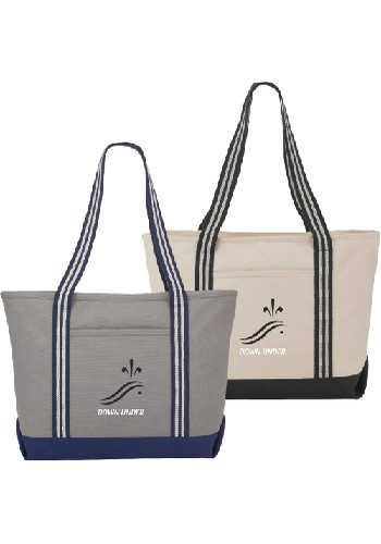 Stripe Handle 20 Oz Cotton Canvas Zipper Boat Totes | LE790032