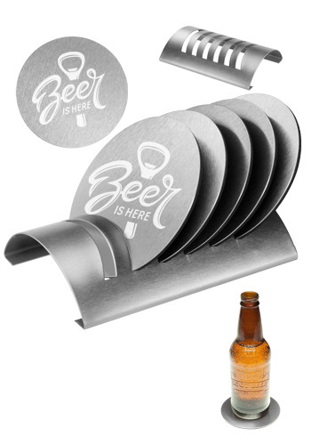 Personalized 7 Piece Round Coaster Sets with Stand