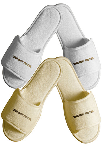 Terry Open Toe Slippers with Velcro Closure Large   TCN32LG