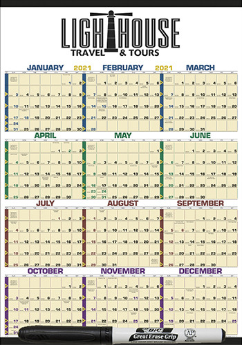 Time Management Span-A-Year Laminated with Marker Calendars | X11376