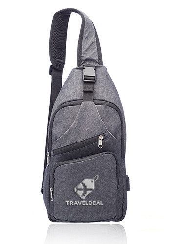 Customized Traveler Shoulder Crossbody Bag with USB Charging Port