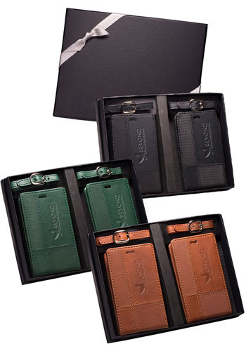 Tuscany™ Duo-Textured Leather Luggage Tags Gift Set |PLLG9331