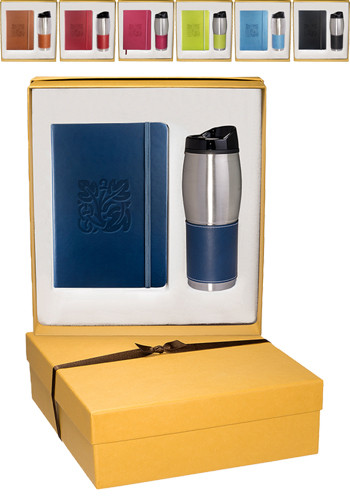 Tuscany Leather Journals & Stainless Steel Tumblers Gift Set | PLLG9277