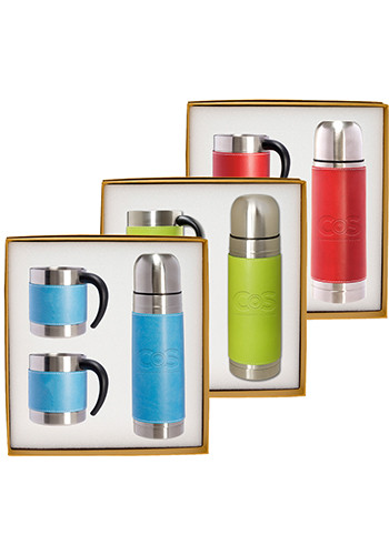 Tuscany™ Stainless Steel Thermos & Coffee Cups Gift Set |PLLG9278