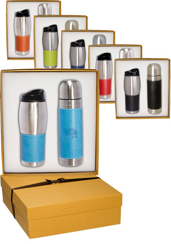Tuscany™ Stainless Steel Thermos & Tumbler Gift Set |PLLG9270
