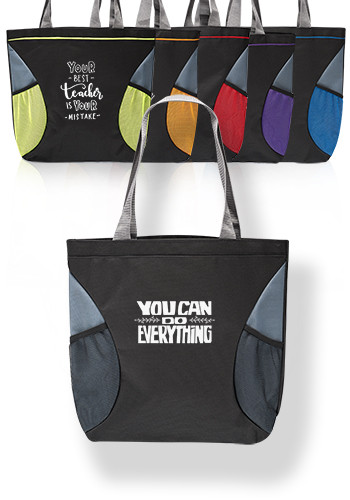 Custom Tutor Shoulder Tote Bag with Mesh Pocket