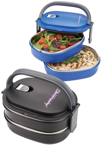 Two Tier Insulated Oval Lunch Box Food Container | LE103168