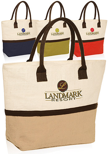 Personalized Two Tone Jute Beach Tote Bags