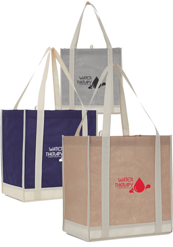 Two-Tone Non-Woven Little Grocery Totes | LE215007