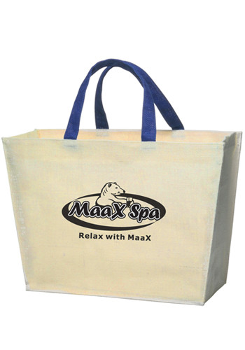 White with Blue Handle Jute Tote Bags