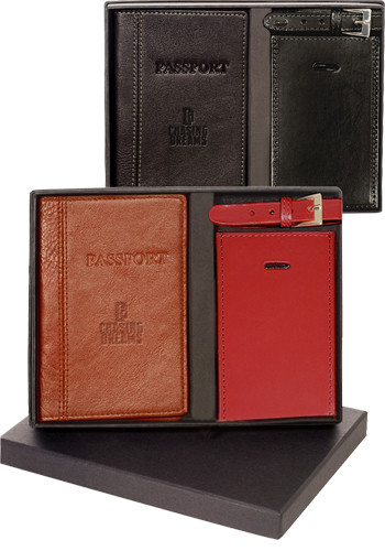 Whitney Peconic Leather Passport & Luggage Tag Sets | PLLG9060