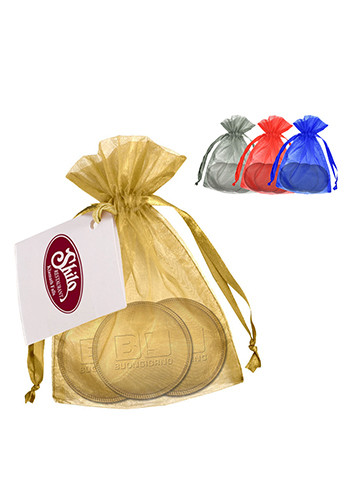 Promotional Embossed Three-Flavor Chocolate Coins in Organza Pouches