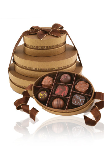 Promotional Assorted Belgian Chocolates in Oval Gift Box Towers