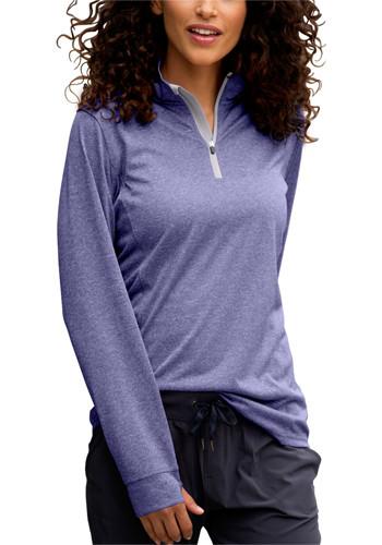 Womens Vansport Melange Quarter zip Tech Pullovers   VA3411